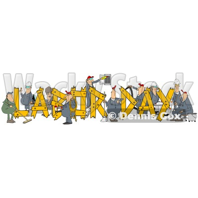 Clipart of Cartoon Chubby White Male and Female Workers Building LABOR DAY Text - Royalty Free Illustration © djart #1347294
