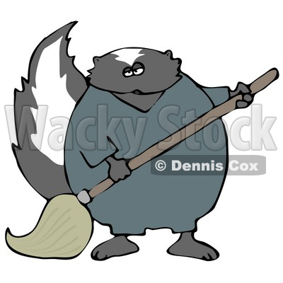 Working Skunk in Coveralls, Mopping up a Mess on a Floor Clipart Illustration © djart #13473
