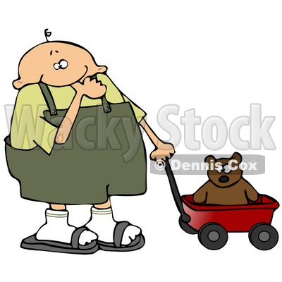 Little Boy in Overalls, Sucking His Thumb and Pulling His Teddy Bear in a Red Wagon Clipart Illustration © djart #13474