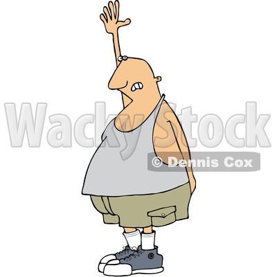 Clipart of a Cartoon Chubby White Man Raising His Hand, Needing to Go to the Bathroom - Royalty Free Vector Illustration © djart #1352137