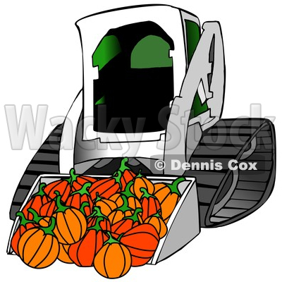 Clipart of a Bobcat Skid Steer Loader with Halloween Pumpkins in the Bucket - Royalty Free Illustration © djart #1353048