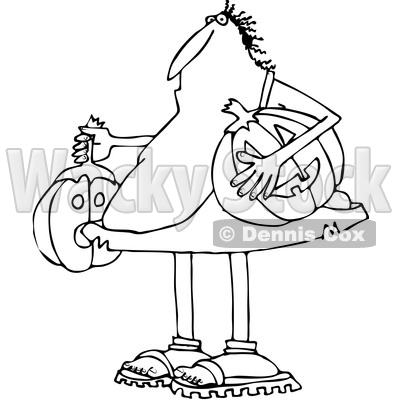 Lineart Clipart of a Cartoon Black and White Caveman Holding Halloween Jackolantern Pumpkins - Royalty Free Outline Vector Illustration © djart #1353050