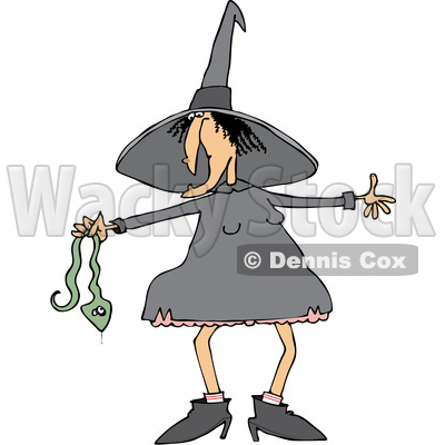 Clipart of a Cartoon Chubby Warty Halloween Witch Holding a Snake - Royalty Free Vector Illustration © djart #1355261