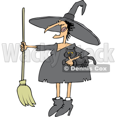 Clipart of a Cartoon Chubby Warty Halloween Witch Holding a Broom and Cat - Royalty Free Vector Illustration © djart #1355325