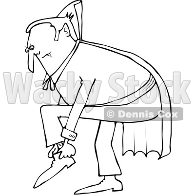 Outline Clipart of a Cartoon Black and White Chubby Dracula Vampire Putting His Shoes on - Royalty Free Lineart Vector Illustration © djart #1355579