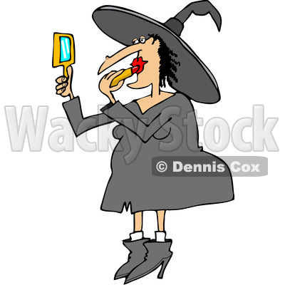 Clipart of a Cartoon Chubby Halloween Witch Applying Lipstick - Royalty Free Vector Illustration © djart #1356160