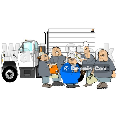 Clipart of a Cartoon Group of Caucasian Male Construction Workers with a Cooler, Donuts, Document and Bag by a Truck - Royalty Free Illustration © djart #1357310