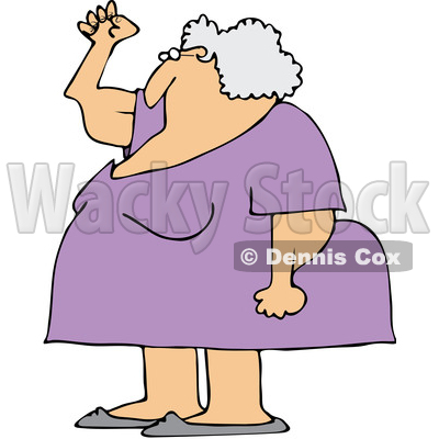 Clipart of a Cartoon Chubby Senior White Woman Holding up a Fist, with Her Arms Sagging - Royalty Free Vector Illustration © djart #1358351