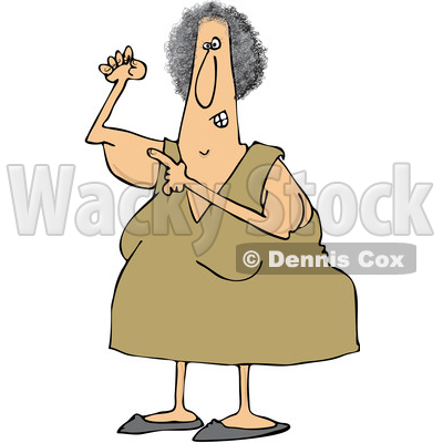 Clipart of a Cartoon Chubby Caucasian Woman Pointing to Her Flabby Tricep - Royalty Free Vector Illustration © djart #1358352