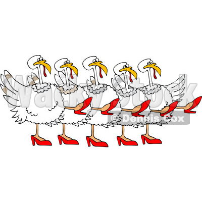 Clipart of a Cartoon Chorus Line of White Turkeys Wearing Heels and Dancing the Can Can - Royalty Free Vector Illustration © djart #1360932