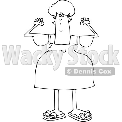 Clipart of a Cartoon Black and White Chubby Woman with Flabby Arms, Flexing - Royalty Free Vector Illustration © djart #1361176