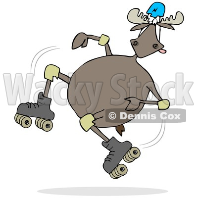 Clipart of a Cartoon Moose Falling While Roller Skating - Royalty Free Illustration © djart #1361438