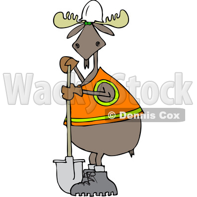 Clipart Of A Cartoon Moose Contractor Holding Shovel And Wearing Safety Vest