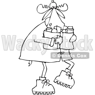 Clipart of a Cartoon Black and White Lineart Winter Moose Carrying Groceries - Royalty Free Vector Illustration © djart #1361448