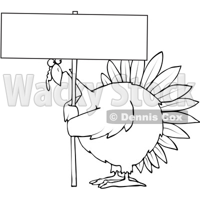 Clipart of a Cartoon Black and White Chubby Thanksgiving Turkey Bird Holding a Blank Sign - Royalty Free Vector Illustration © djart #1361479