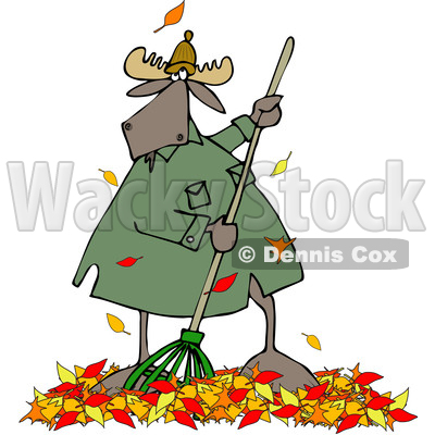Clipart of a Cartoon Moose Raking Autumn Leaves - Royalty Free Vector Illustration © djart #1361611