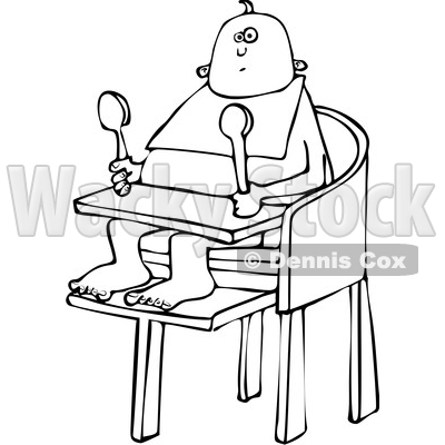 Clipart of a Cartoon Black and White Baby Sitting in a High Chair and Holding Spoons - Royalty Free Vector Illustration © djart #1361685