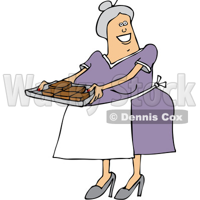 Graphic Chubby Woman Baking In Oven