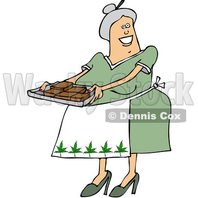 Clipart of a Cartoon Happy Chubby White Senior Woman Holding a Tray of Fresly Baked Marijuana Brownies and Wearing an Apron with Pot Leaves - Royalty Free Vector Illustration © djart #1363049