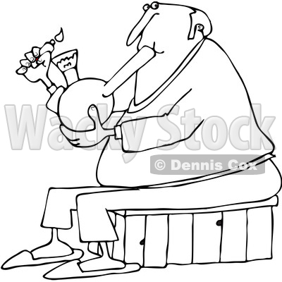 of a Cartoon Black and White Chubby Senior Man Lighting a Bong to ...