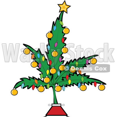 Clipart of a Cartoon Marijuana Pot Leaf Weed Christmas Tree Decorated with a Star, Lights and Baubles - Royalty Free Vector Illustration © djart #1363568