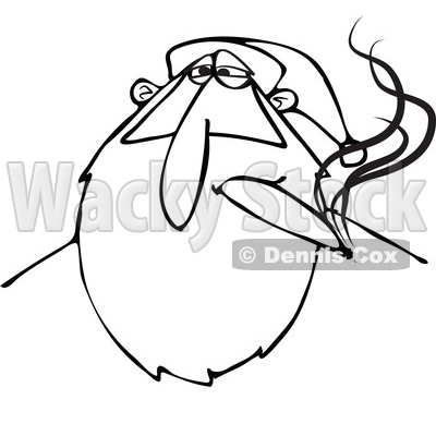 Clipart of a Black and White Stoned Christmas Santa Claus Smoking a Joint - Royalty Free Vector Illustration © djart #1363735