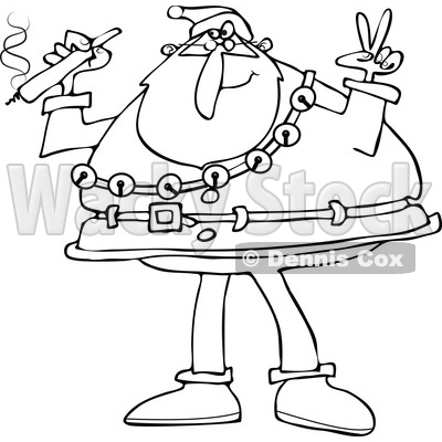 Clipart of a Black and White Santa Claus Wearing His Christmas Suit, Holding a Joint and Gesturing Peace - Royalty Free Vector Illustration © djart #1363737