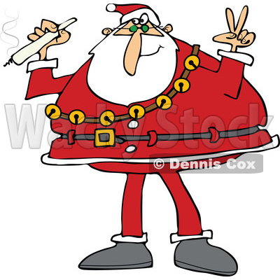 of santa claus wearing his christmas suit holding a joint and rh wackystock com Santa Hat Clip Art Printable Santa Suit