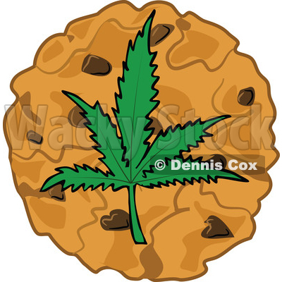 Clipart of a Cartoon Pot Cookie with a Marijuana Leaf - Royalty Free Vector Illustration © djart #1363740