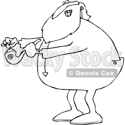 Clipart of a Cartoon Black and White Christmas Santa Claus in Pajamas, Lighting up a Pot Pipe - Royalty Free Vector Illustration © djart #1363745