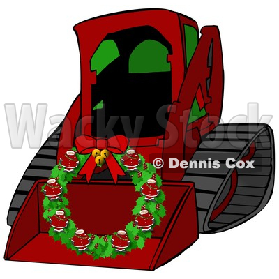 Clipart of a Cartoon Red Bobcat Skid Steer Loader with a Santa Christmas Wreath in the Bucket - Royalty Free Illustration © djart #1365764