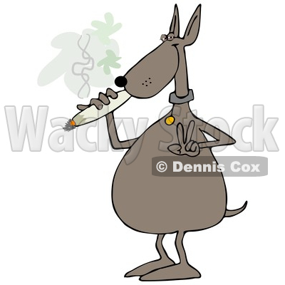 Clipart of a Cartoon High Dog Gesturing Peace and Smoking a Joint - Royalty Free Illustration © djart #1365767