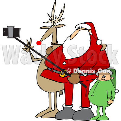 Clipart of a Cartoon Christmas Santa Claus, Elf, and Rudolph the Red Nosed Reindeer Taking a Picture with a Smart Phone and Selfie Stick - Royalty Free Vector Illustration © djart #1366743