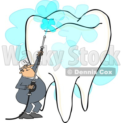 Clipart of a Cartoon White Worker Man Pressure Washing a Tooth, on a White Background - Royalty Free Illustration © djart #1370897