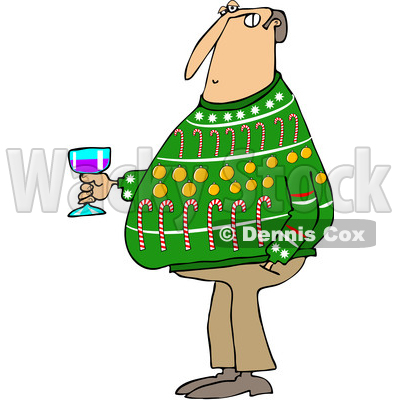 of a cartoon chubby white man wearing an ugly christmas sweater and rh wackystock com Christmas Sweater Clip Art Outline free clipart of ugly christmas sweaters