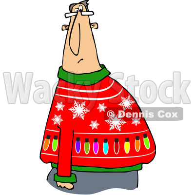 of a Cartoon Chubby White Man Wearing a Snowflake and Lights Ugly ...