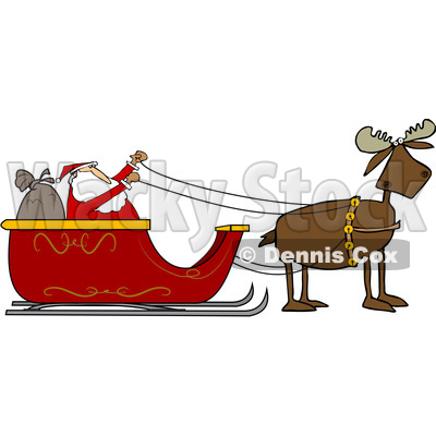 clipart of a moose pulling santa in his christmas sleigh royalty rh wackystock com