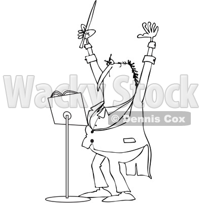 Clipart of a Cartoon Black and White Chubby Male Music Conductor Holding up an Arm and Wand - Royalty Free Vector Illustration © djart #1371796