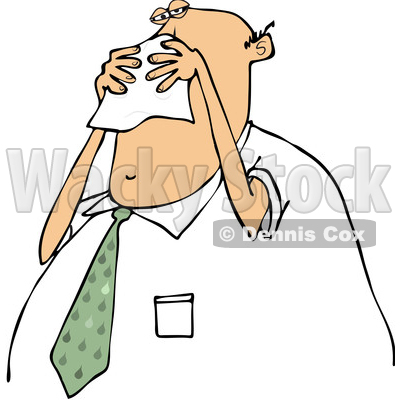 Clipart of a Cartoon Chubby White Business Man Blowing His Nose into a Tissue - Royalty Free Vector Illustration © djart #1371799