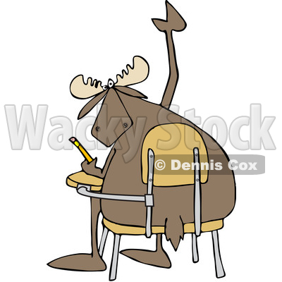 Clipart of a Cartoon Student Moose with a Question, Raising a Hoof at a Desk - Royalty Free Vector Illustration © djart #1373280