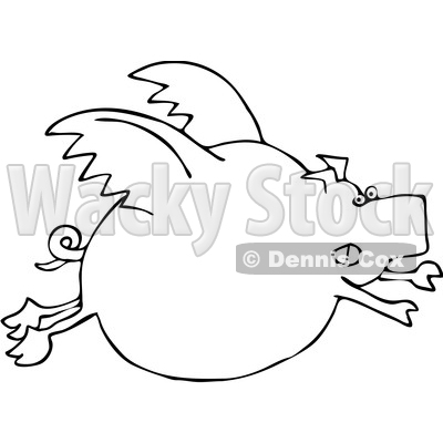 Clipart of a Black and White Cartoon Chubby Pig Flying - Royalty Free Vector Illustration © djart #1374505