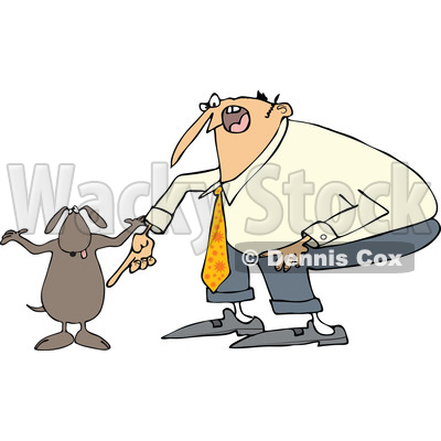 Clipart of a Cartoon Chubby White Man Yelling at His Careless Dog - Royalty Free Vector Illustration © djart #1374729