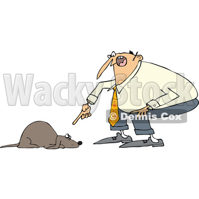 Clipart of a Cartoon Chubby White Man Yelling at His Scared Dog - Royalty Free Vector Illustration © djart #1374734