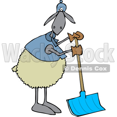 Cartoon Clipart of a Sheep Wearing Winter Apparel, Standing and Using a Snow Shovel - Royalty Free Vector Illustration © djart #1375141