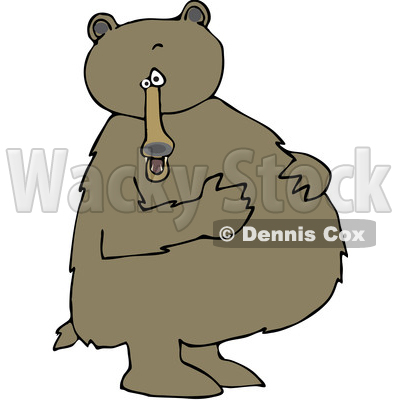 Cartoon Clipart of a Brown Bear Standing Upright and Resting His Paws on His Full Belly - Royalty Free Vector Illustration © djart #1375291