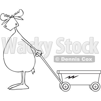 Cartoon Clipart of a Black and White Moose Standing Upright and Pulling a Wagon - Royalty Free Vector Illustration © djart #1375297