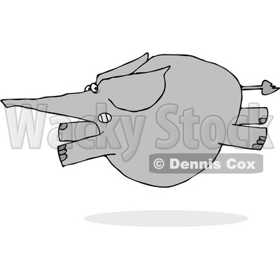 Clipart of a Cartoon Elephant Leaping and Running Scared - Royalty Free Vector Illustration © djart #1376337