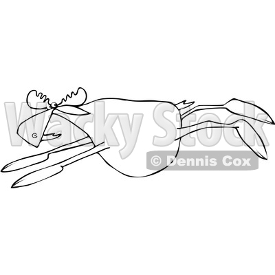 Clipart of a Cartoon Black and White Moose Leaping - Royalty Free Vector Illustration © djart #1376376