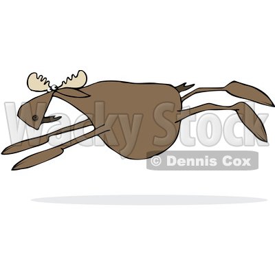 Clipart of a Cartoon Moose Leaping - Royalty Free Vector Illustration © djart #1376377
