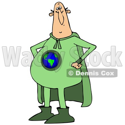 Clipart of a Chubby White Male Super Hero Standing with His Hands on His Hips, Wearing a Green Earth Suit - Royalty Free Vector Illustration © djart #1377530
